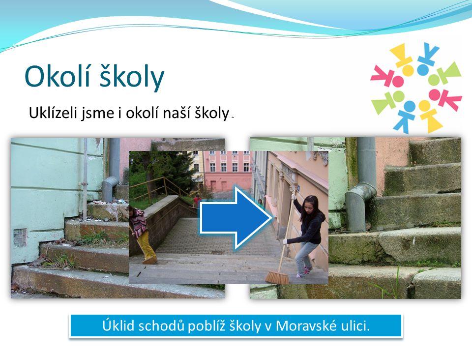 Okolí školy Uklízeli jsme i okolí naší školy Úklid schodů poblíž školy v Moravské ulici.