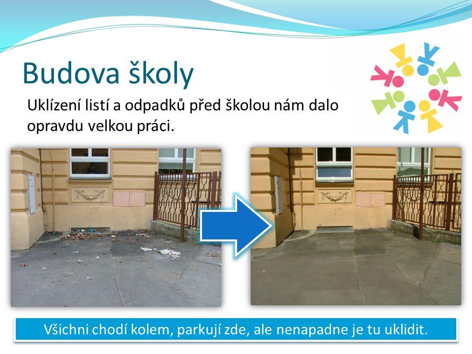 Budova školy Uklízení listí a odpadků před školou nám dalo opravdu velkou práci.