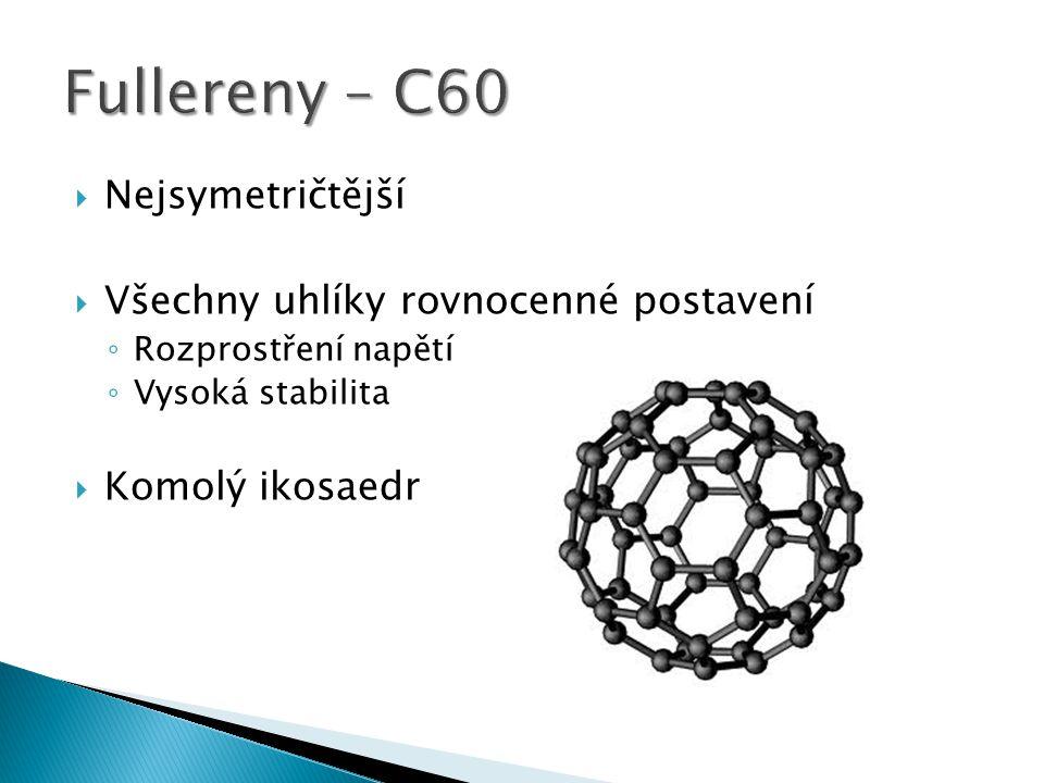  Nejsymetričtější  Všechny uhlíky rovnocenné postavení ◦ Rozprostření napětí ◦ Vysoká stabilita  Komolý ikosaedr