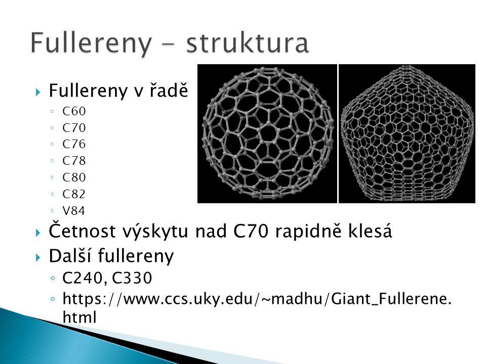  Fullereny v řadě ◦ C60 ◦ C70 ◦ C76 ◦ C78 ◦ C80 ◦ C82 ◦ V84  Četnost výskytu nad C70 rapidně klesá  Další fullereny ◦ C240, C330 ◦ https://www.ccs.