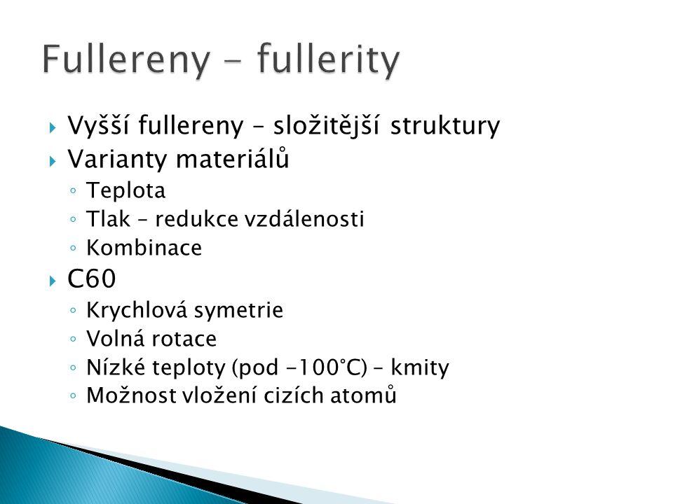  Vyšší fullereny – složitější struktury  Varianty materiálů ◦ Teplota ◦ Tlak – redukce vzdálenosti ◦ Kombinace  C60 ◦ Krychlová symetrie ◦ Volná ro