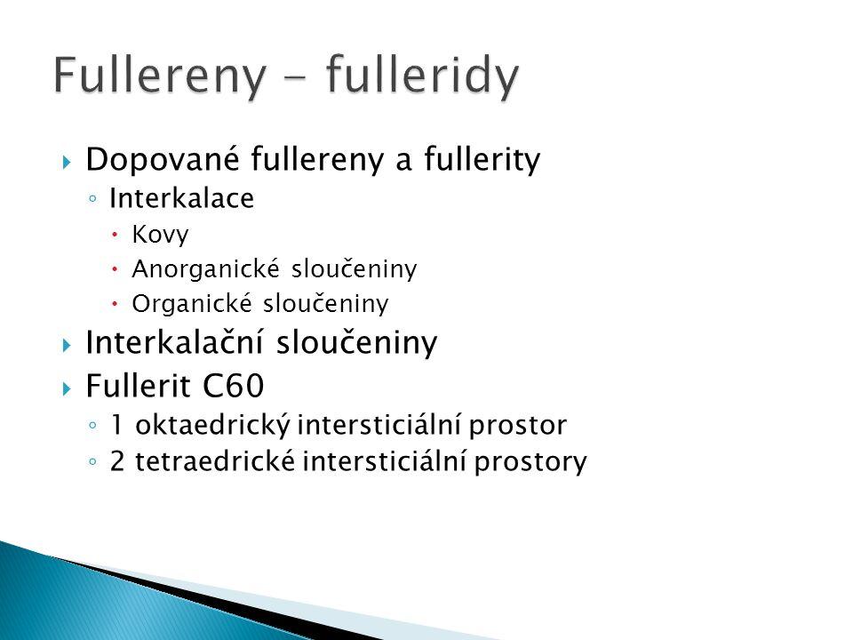  Dopované fullereny a fullerity ◦ Interkalace  Kovy  Anorganické sloučeniny  Organické sloučeniny  Interkalační sloučeniny  Fullerit C60 ◦ 1 okt