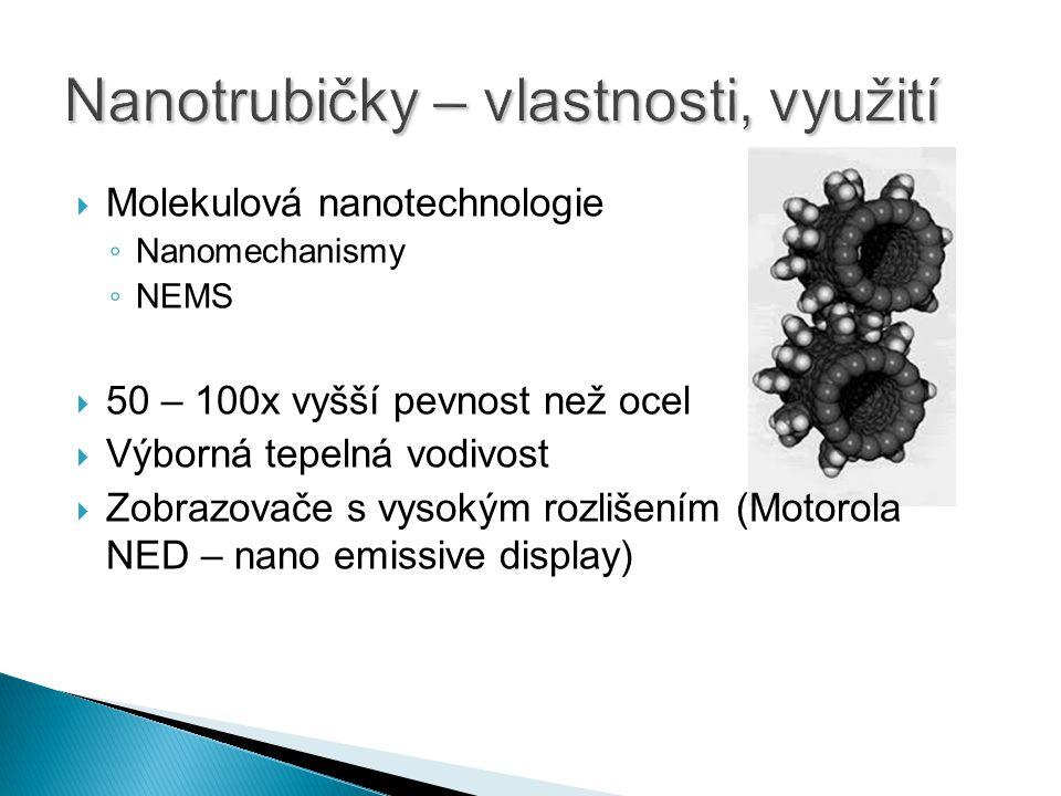  Molekulová nanotechnologie ◦ Nanomechanismy ◦ NEMS  50 – 100x vyšší pevnost než ocel  Výborná tepelná vodivost  Zobrazovače s vysokým rozlišením