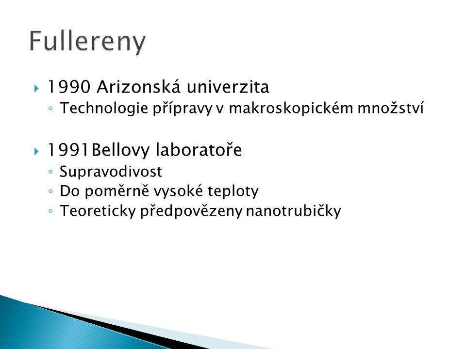  1990 Arizonská univerzita ◦ Technologie přípravy v makroskopickém množství  1991Bellovy laboratoře ◦ Supravodivost ◦ Do poměrně vysoké teploty ◦ Te