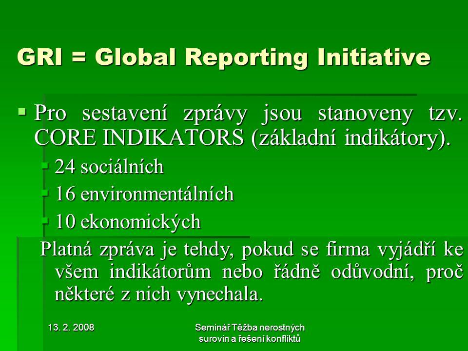 13. 2. 2008Seminář Těžba nerostných surovin a řešení konfliktů GRI = Global Reporting Initiative  Pro sestavení zprávy jsou stanoveny tzv. CORE INDIK
