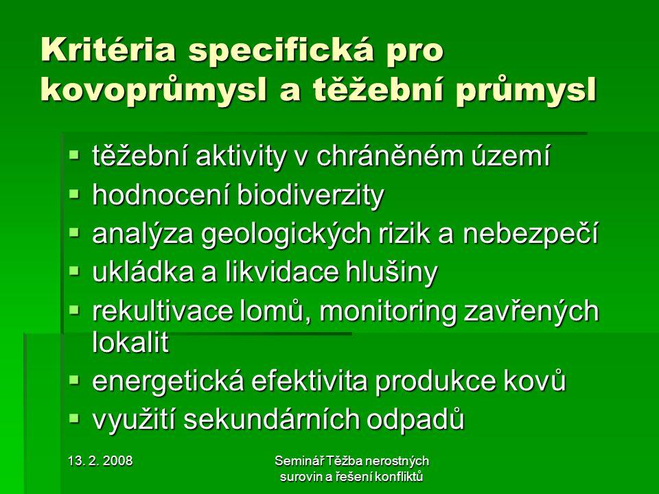 13. 2. 2008Seminář Těžba nerostných surovin a řešení konfliktů Kritéria specifická pro kovoprůmysl a těžební průmysl  těžební aktivity v chráněném úz