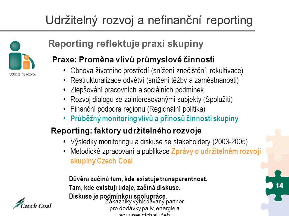 Zákazníky vyhledávaný partner pro dodávky paliv, energie a souvisejících služeb 14 Udržitelný rozvoj a nefinanční reporting Praxe: Proměna vlivů průmy