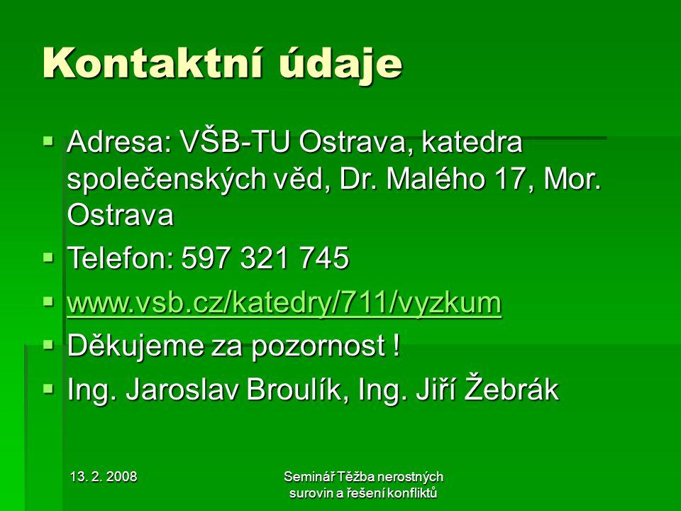 13. 2. 2008Seminář Těžba nerostných surovin a řešení konfliktů Kontaktní údaje  Adresa: VŠB-TU Ostrava, katedra společenských věd, Dr. Malého 17, Mor