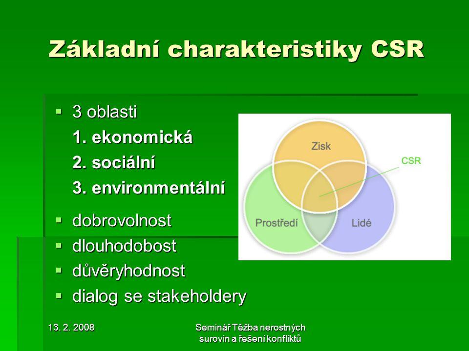 13. 2. 2008Seminář Těžba nerostných surovin a řešení konfliktů Základní charakteristiky CSR  3 oblasti 1. ekonomická 2. sociální 3. environmentální 