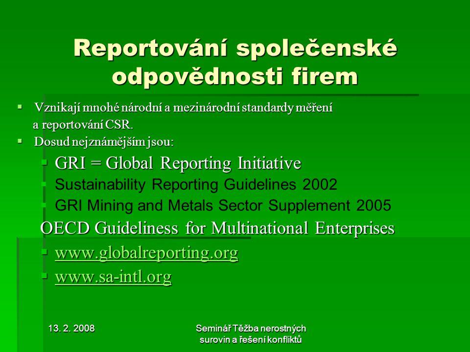 13. 2. 2008Seminář Těžba nerostných surovin a řešení konfliktů www.sa-intl.org
