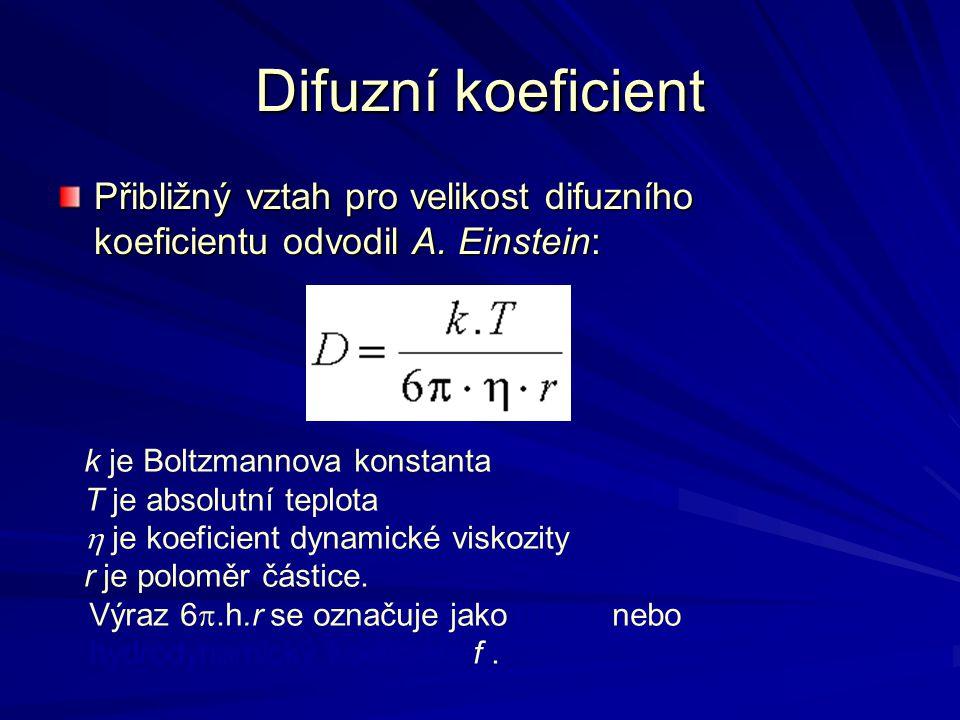 Difuzní koeficient Přibližný vztah pro velikost difuzního koeficientu odvodil A. Einstein: k je Boltzmannova konstanta T je absolutní teplota  je koe