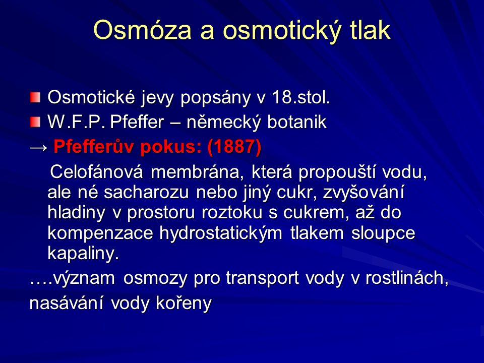 Osmóza a osmotický tlak Osmotické jevy popsány v 18.stol. W.F.P. Pfeffer – německý botanik → Pfefferův pokus: (1887) Celofánová membrána, která propou