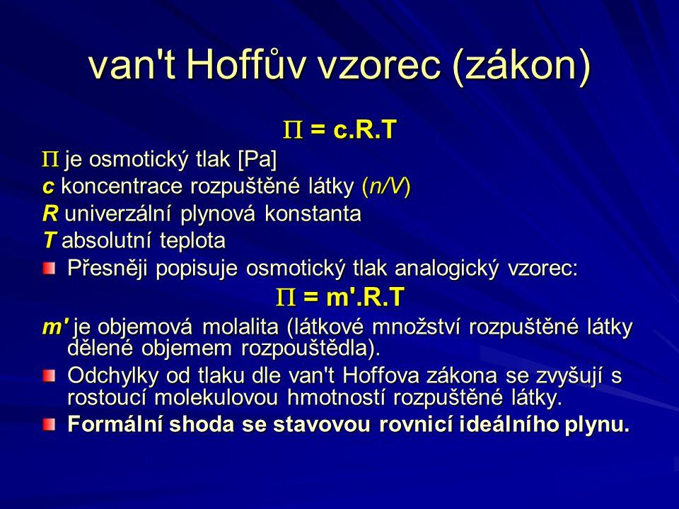 van t Hoffův vzorec (zákon) Pro elektrolyty:  = i.c.R.T i je bezrozměrný van t Hoffův opravný faktor který udává kolikrát více je v roztoku částic, než byl původní počet částic nedisociovaných.