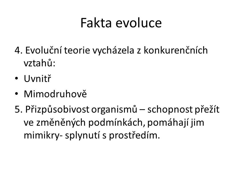 Fakta evoluce 4. Evoluční teorie vycházela z konkurenčních vztahů: Uvnitř Mimodruhově 5.