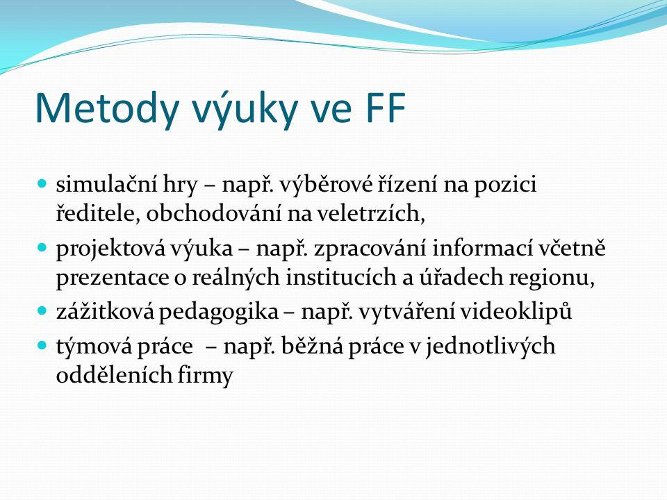 Metody výuky ve FF simulační hry – např. výběrové řízení na pozici ředitele, obchodování na veletrzích, projektová výuka – např. zpracování informací