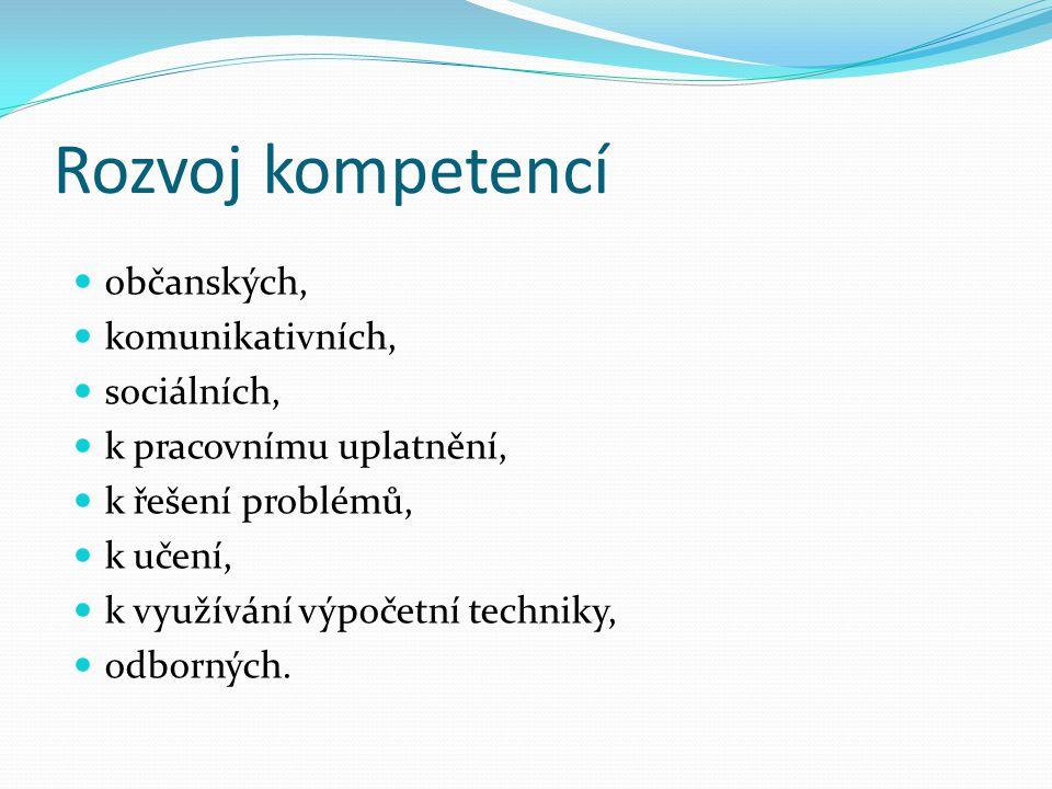Rozvoj kompetencí občanských, komunikativních, sociálních, k pracovnímu uplatnění, k řešení problémů, k učení, k využívání výpočetní techniky, odborný