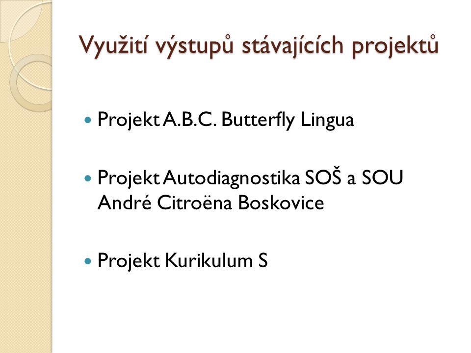 Využití výstupů stávajících projektů Projekt A.B.C.