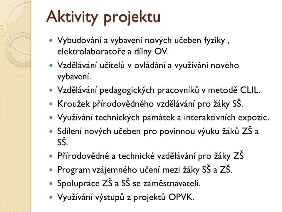 Aktivity projektu Vybudování a vybavení nových učeben fyziky, elektrolaboratoře a dílny OV.