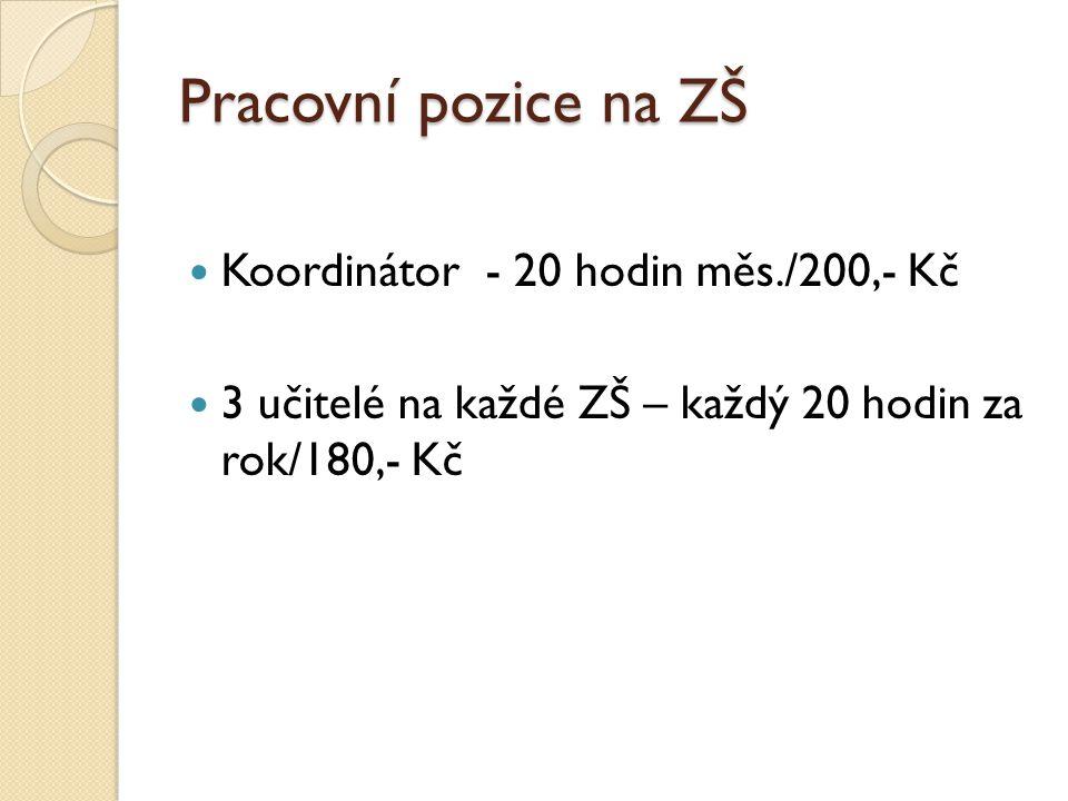 Pracovní pozice na ZŠ Koordinátor - 20 hodin měs./200,- Kč 3 učitelé na každé ZŠ – každý 20 hodin za rok/180,- Kč