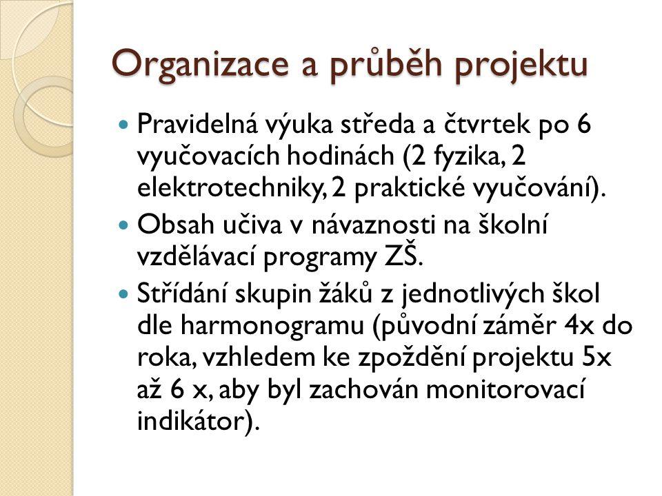 Organizace a průběh projektu Pravidelná výuka středa a čtvrtek po 6 vyučovacích hodinách (2 fyzika, 2 elektrotechniky, 2 praktické vyučování).
