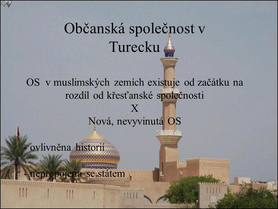 Občanská společnost v Turecku OS v muslimských zemích existuje od začátku na rozdíl od křesťanské společnosti X Nová, nevyvinutá OS - ovlivněna historií - nepropojena se státem