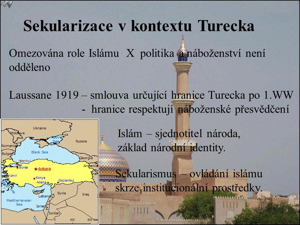 Sekularizace v kontextu Turecka Omezována role Islámu X politika a náboženství není odděleno Laussane 1919 – smlouva určující hranice Turecka po 1.WW - hranice respektují náboženské přesvědčení Sekularismus – ovládání islámu skrze institucionální prostředky.