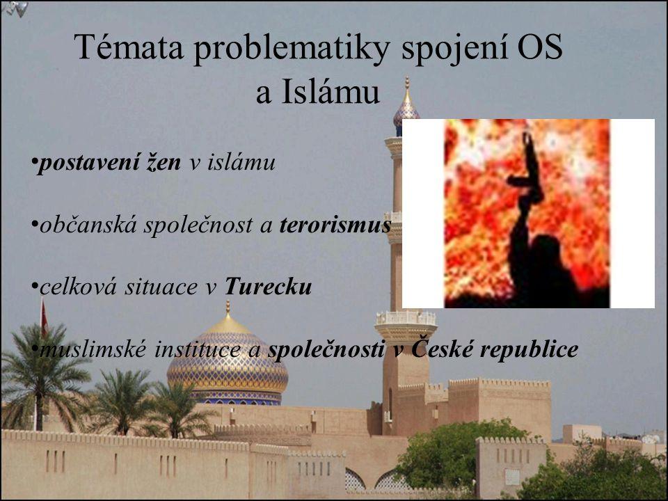 Témata problematiky spojení OS a Islámu postavení žen v islámu občanská společnost a terorismus celková situace v Turecku muslimské instituce a společnosti v České republice