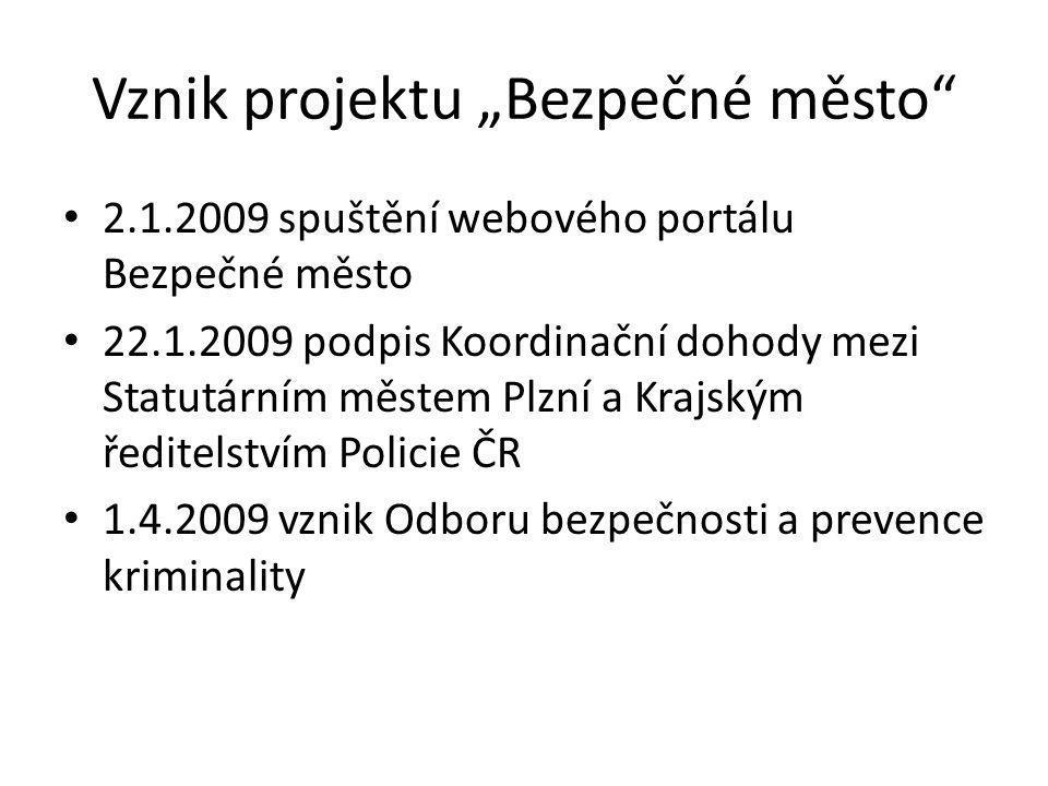 """Vznik projektu """"Bezpečné město"""" 2.1.2009 spuštění webového portálu Bezpečné město 22.1.2009 podpis Koordinační dohody mezi Statutárním městem Plzní a"""