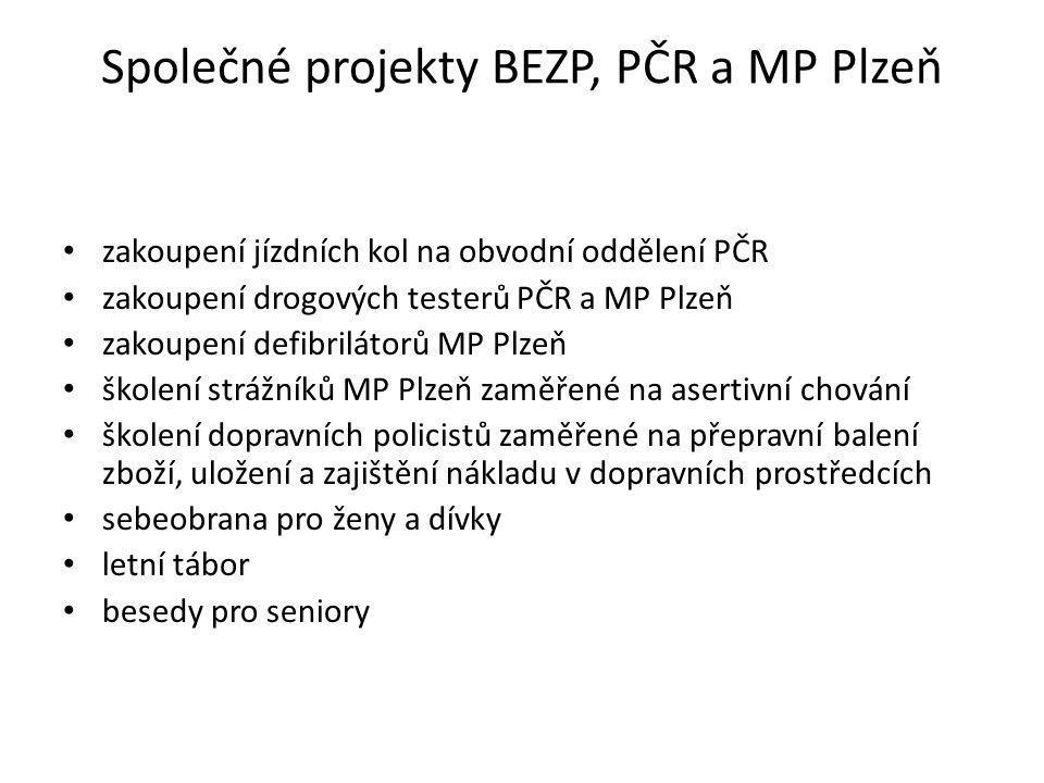 Společné projekty BEZP, PČR a MP Plzeň zakoupení jízdních kol na obvodní oddělení PČR zakoupení drogových testerů PČR a MP Plzeň zakoupení defibriláto