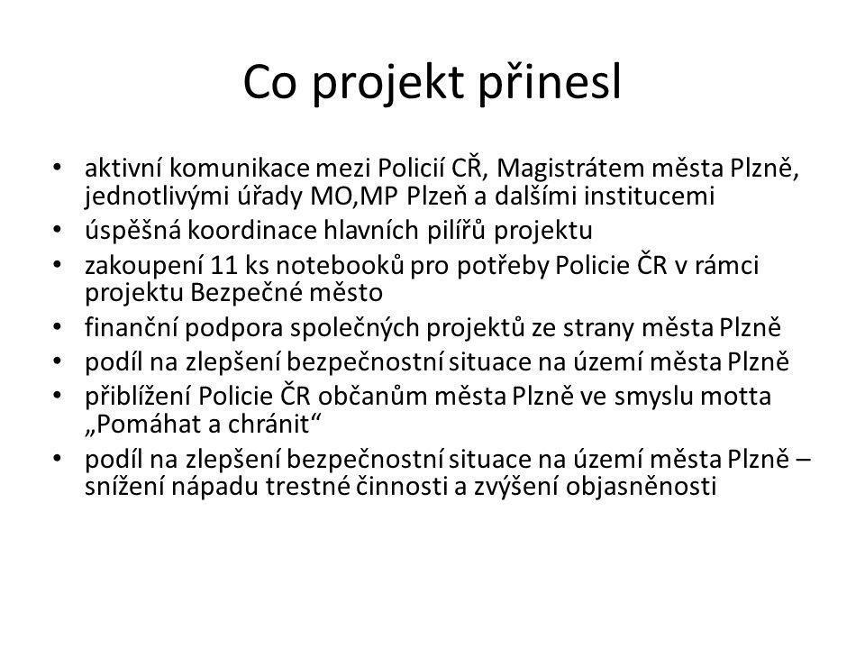 Co projekt přinesl aktivní komunikace mezi Policií CŘ, Magistrátem města Plzně, jednotlivými úřady MO,MP Plzeň a dalšími institucemi úspěšná koordinac