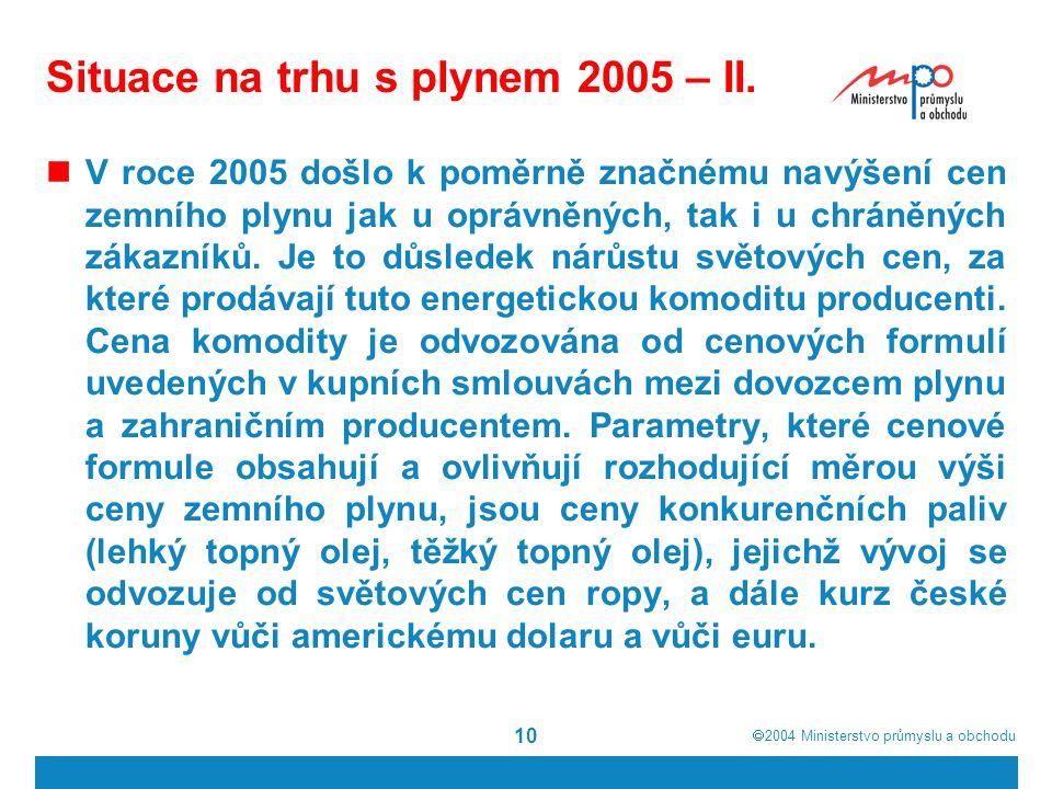  2004  Ministerstvo průmyslu a obchodu 10 Situace na trhu s plynem 2005 – II.