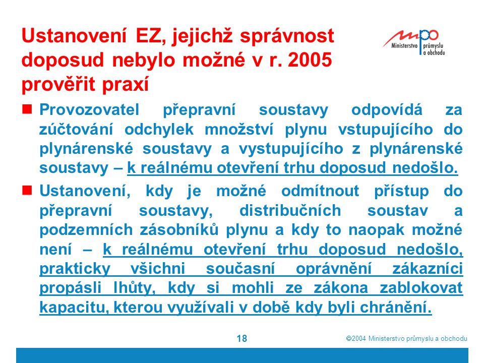 2004  Ministerstvo průmyslu a obchodu 18 Ustanovení EZ, jejichž správnost doposud nebylo možné v r.