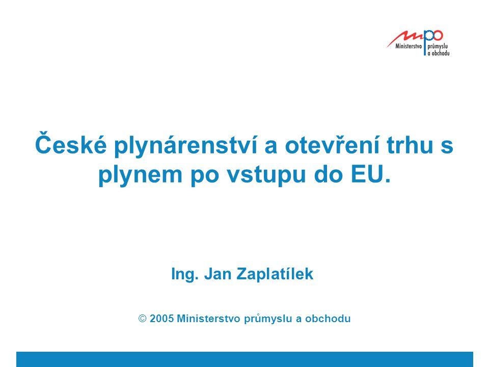 České plynárenství a otevření trhu s plynem po vstupu do EU.