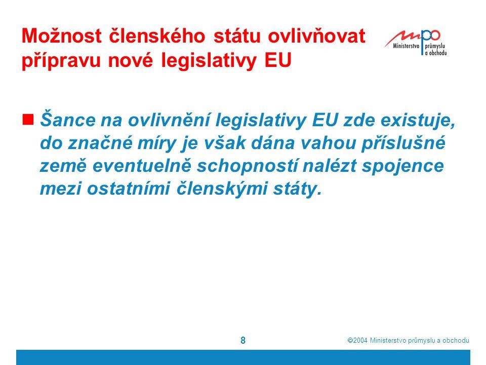  2004  Ministerstvo průmyslu a obchodu 8 Možnost členského státu ovlivňovat přípravu nové legislativy EU Šance na ovlivnění legislativy EU zde existuje, do značné míry je však dána vahou příslušné země eventuelně schopností nalézt spojence mezi ostatními členskými státy.