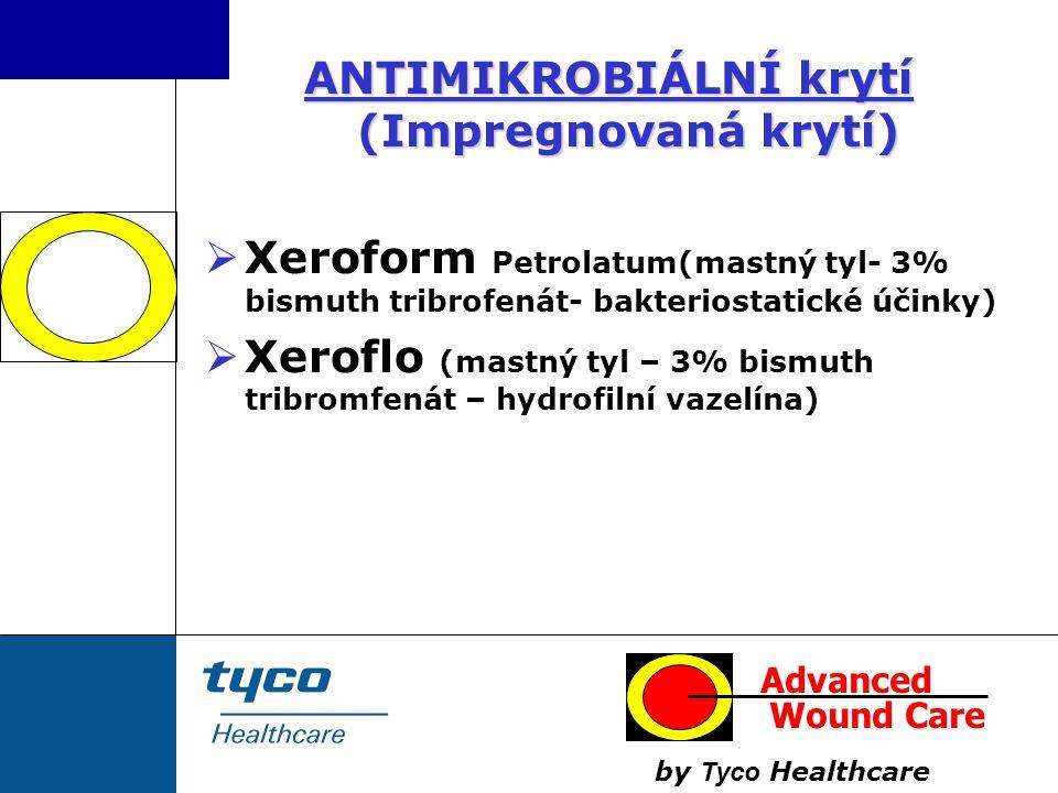 ANTIMIKROBIÁLNÍ krytí (Impregnovaná krytí)  Xeroform Petrolatum(mastný tyl- 3% bismuth tribrofenát- bakteriostatické účinky)  Xeroflo (mastný tyl –