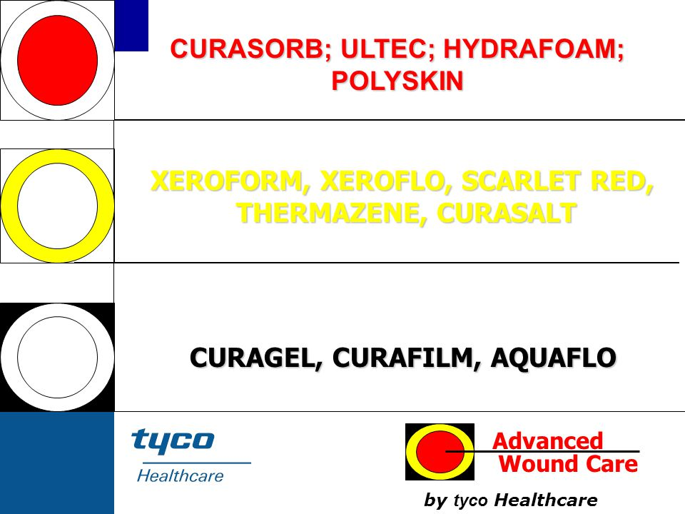 CURASORB; ULTEC; HYDRAFOAM; POLYSKIN CURAGEL, CURAFILM, AQUAFLO XEROFORM, XEROFLO, SCARLET RED, THERMAZENE, CURASALT THERMAZENE, CURASALT Advanced Wou