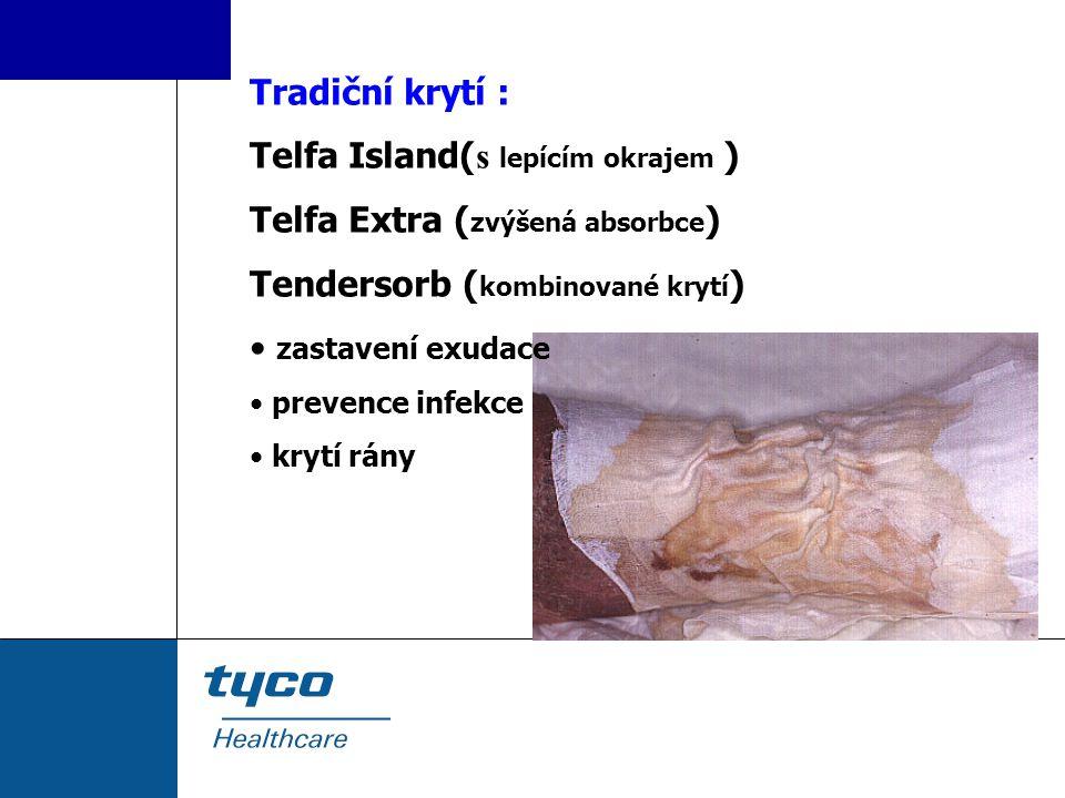 Tradiční krytí : Telfa Island( s lepícím okrajem ) Telfa Extra ( zvýšená absorbce ) Tendersorb ( kombinované krytí ) zastavení exudace prevence infekc