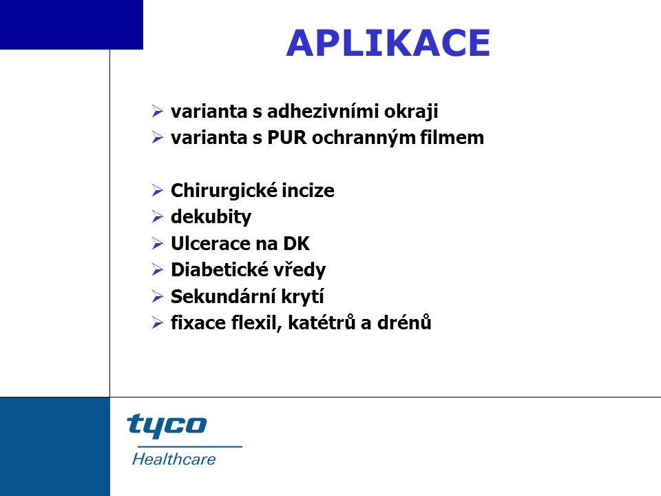 APLIKACE  varianta s adhezivními okraji  varianta s PUR ochranným filmem  Chirurgické incize  dekubity  Ulcerace na DK  Diabetické vředy  Sekun