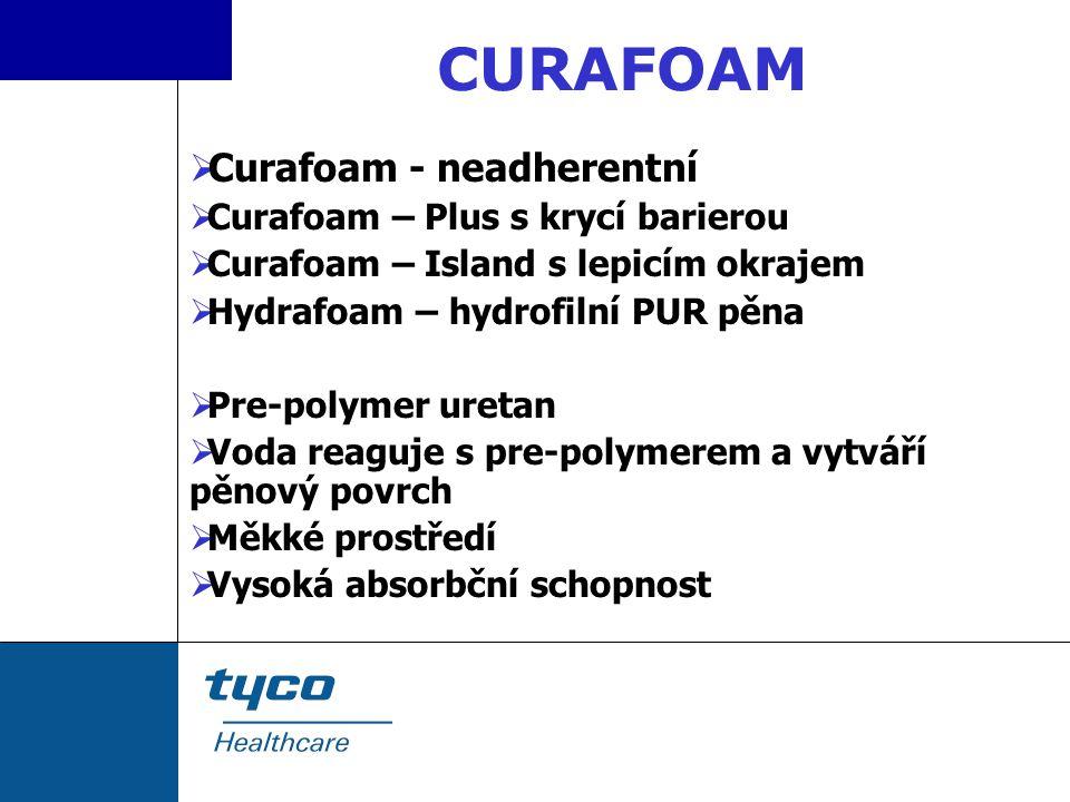  Curafoam - neadherentní  Curafoam – Plus s krycí barierou  Curafoam – Island s lepicím okrajem  Hydrafoam – hydrofilní PUR pěna  Pre-polymer ure