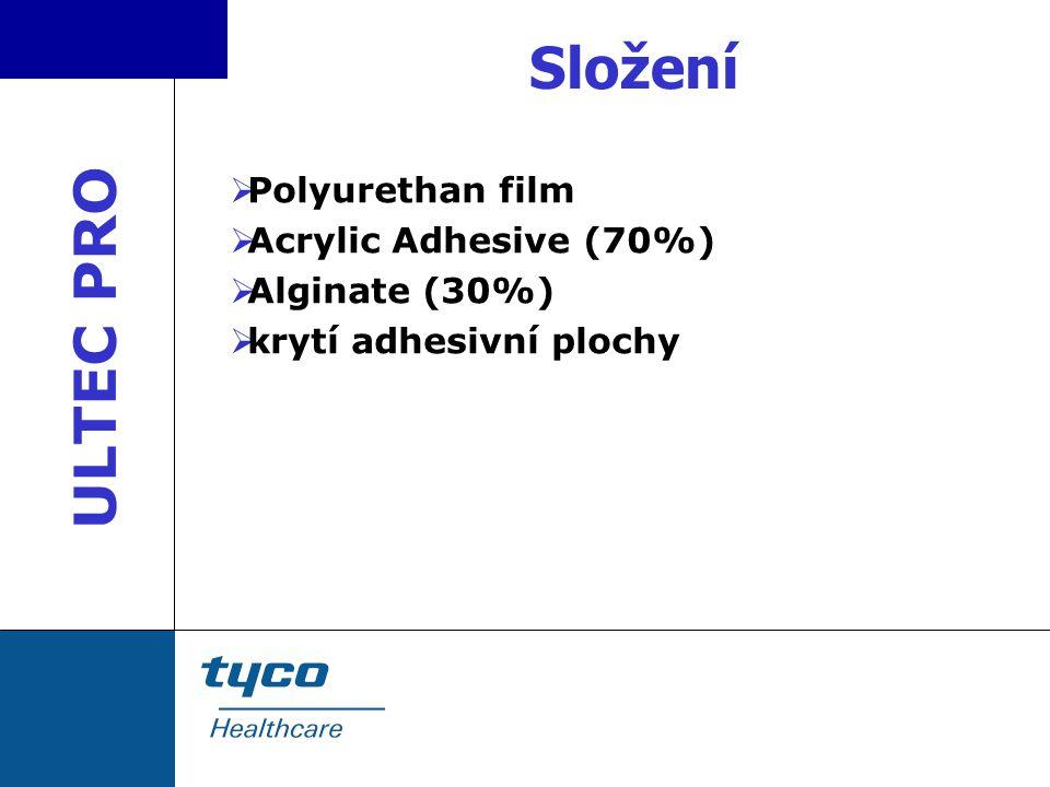 Složení  Polyurethan film  Acrylic Adhesive (70%)  Alginate (30%)  krytí adhesivní plochy ULTEC PRO
