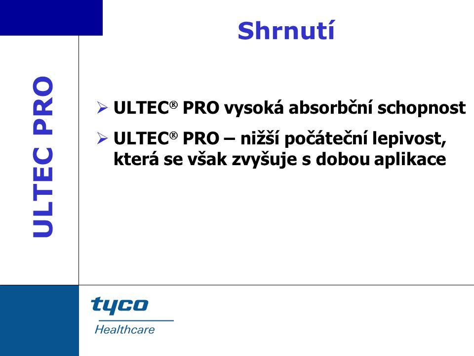 Shrnutí  ULTEC  PRO vysoká absorbční schopnost  ULTEC  PRO – nižší počáteční lepivost, která se však zvyšuje s dobou aplikace ULTEC PRO