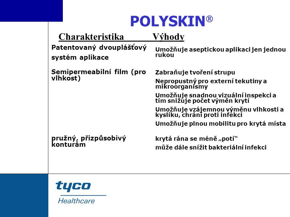 POLYSKIN  Patentovaný dvouplášťový systém aplikace Semipermeabilní film (pro vlhkost) pružný, přizpůsobivý konturám Umožňuje aseptickou aplikaci jen