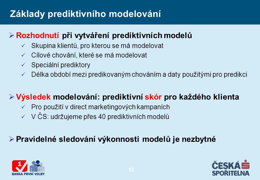 12 Základy prediktivního modelování  Rozhodnutí při vytváření prediktivních modelů Skupina klientů, pro kterou se má modelovat Cílové chování, které