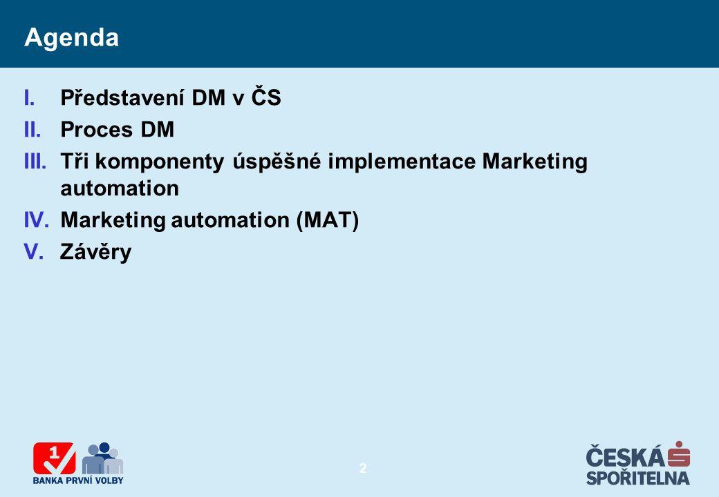 2 Agenda I.Představení DM v ČS II.Proces DM III.Tři komponenty úspěšné implementace Marketing automation IV.Marketing automation (MAT) V.Závěry