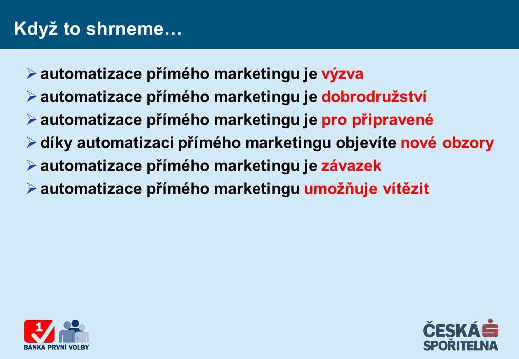 Když to shrneme…  automatizace přímého marketingu je výzva  automatizace přímého marketingu je dobrodružství  automatizace přímého marketingu je pr