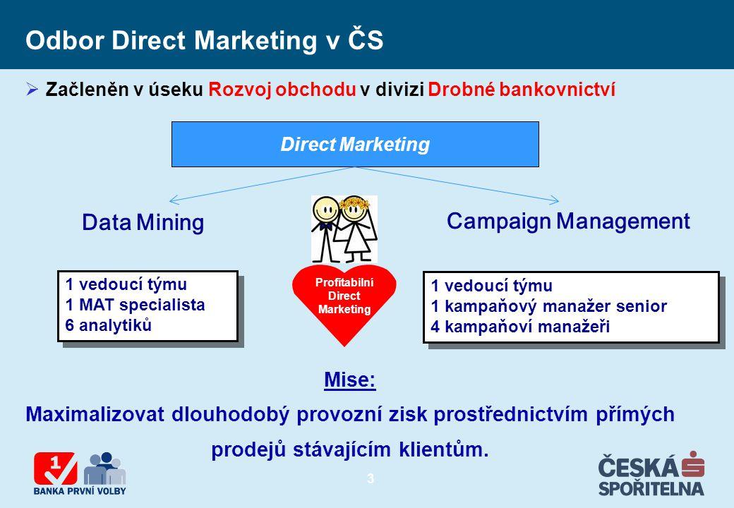 3 Direct Marketing Campaign Management Data Mining Mise: Maximalizovat dlouhodobý provozní zisk prostřednictvím přímých prodejů stávajícím klientům. 1