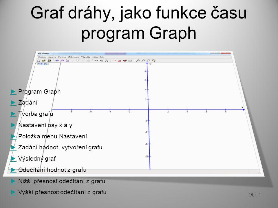 Graf dráhy, jako funkce času program Graph ►► Program Graph ►► Zadání ►► Tvorba grafu ►► Nastavení osy x a y ►► Položka menu Nastavení ►► Zadání hodnot, vytvoření grafu ►► Výsledný graf ►► Odečítání hodnot z grafu ►► Nižší přesnost odečítání z grafu ►► Vyšší přesnost odečítání z grafu Obr.