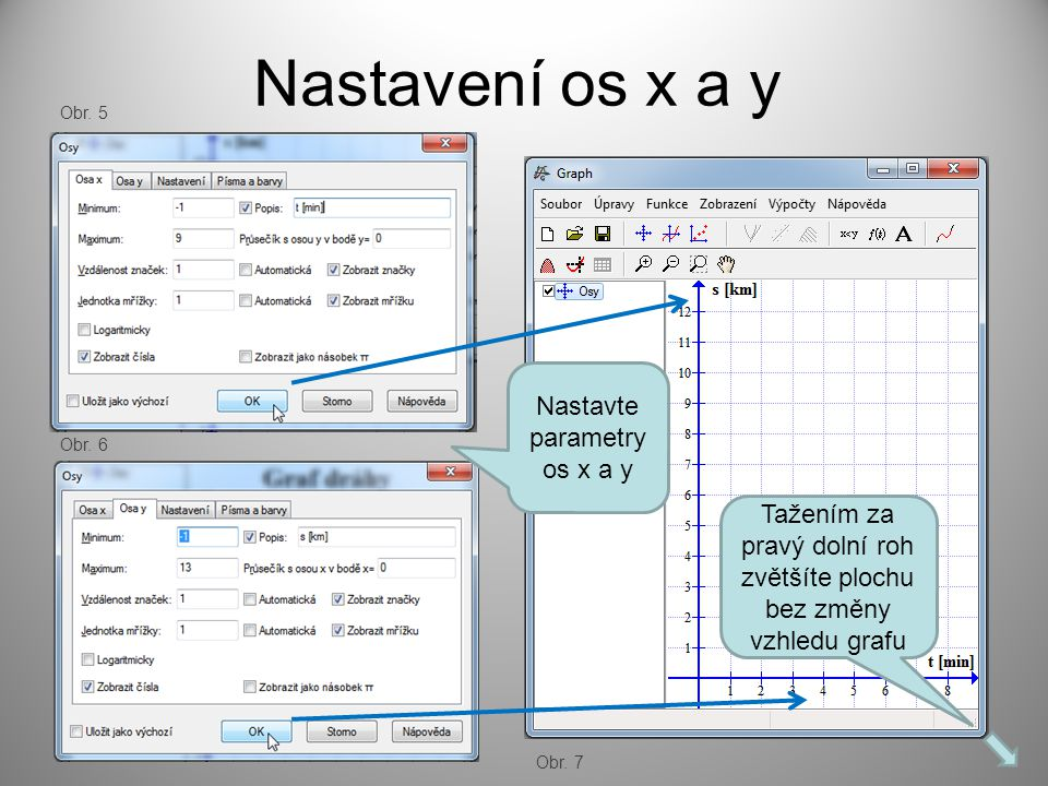 Nastavení os x a y Nastavte parametry os x a y Tažením za pravý dolní roh zvětšíte plochu bez změny vzhledu grafu Obr.