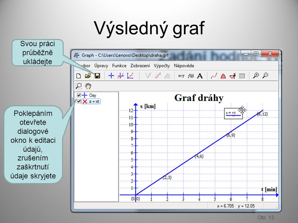 Výsledný graf Svou práci průběžně ukládejte Poklepáním otevřete dialogové okno k editaci údajů, zrušením zaškrtnutí údaje skryjete Obr.
