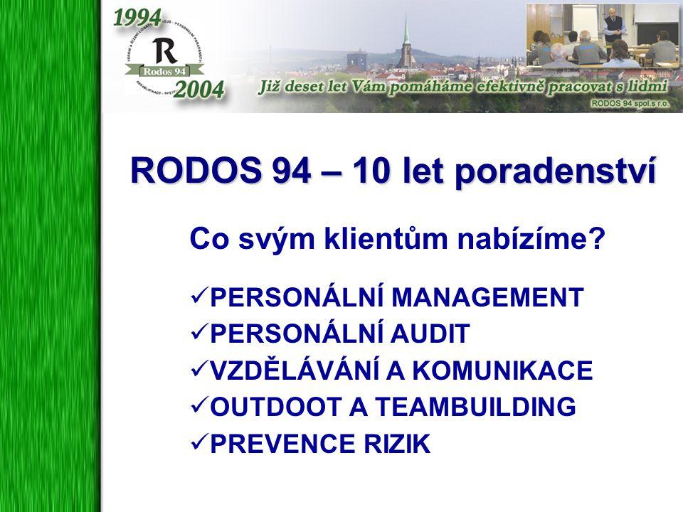 RODOS 94 – 10 let poradenství Co svým klientům nabízíme? PERSONÁLNÍ MANAGEMENT PERSONÁLNÍ AUDIT VZDĚLÁVÁNÍ A KOMUNIKACE OUTDOOT A TEAMBUILDING PREVENC